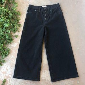 Madewell Wide Leg Crop High Waist Jeans Black